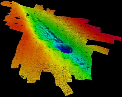 Bản đồ bằng công nghệ quét sonar cho thấy vị trí của khu rừng ngoài bờ biển Alabama. (Ảnh : Grant Harley, Kristine DeLong)
