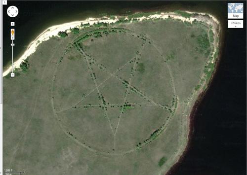 Ngôi sao 5 cánh ở Kazakhstan nhìn từ Google Maps