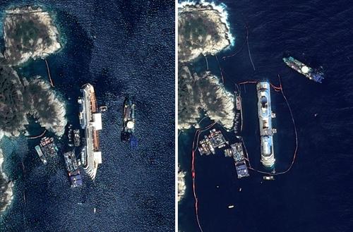 """Du thuyền Costa Concordiađã được hơn 500 kỹ sư, thợ lặn và nhân viên cứu hộ nâng dậy khỏi bãi đá ngầm khiến nó mắc cạn. Cuộc """"giải cứu"""" thành công lúc 4h sáng theo giờ địa phương"""