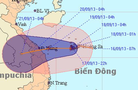 Dự báo đường đi của bão số 8. Ảnh: CHMF.