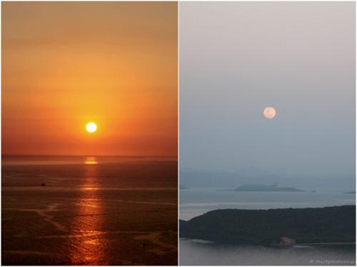 cảnh Mặt trời lặn và Mặt trăng mọc ngày 19/9/2013 tại Noumea, New Caledonia.