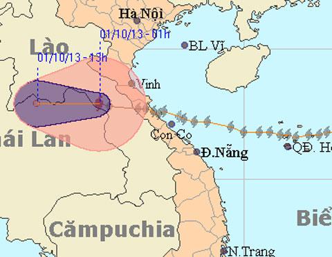 Bão Wutip đã hướng sang Lào. Ảnh: nchmf