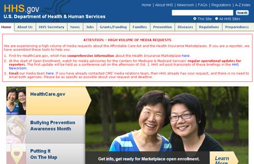 Trong khi đó, trang web của Bộ Y tế và Dịch vụ Dân sinh đăng thông báo quan trọng kêu gọi các nhà báo tìm hiểu kỹ hơnvề chính sách y tế của Tổng thống Barack Obama,