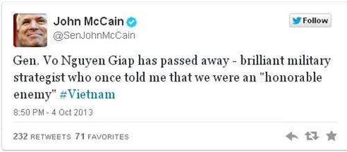 Dòng tin nhắn trên Twitter của Thượng nghị sĩ John McCain, một cựu binh từng tham gia chiến tranh Việt Nam. Ảnh chụp màn hình: Twitter