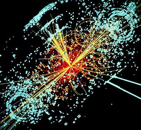Hình mô phỏng quá trình tìm kiếm hạt Higgs bằng cách cho các luồng hạt proton va chạm trực diện với tốc độ cực lớn trong máy gia tốc. Ảnh: tamu.edu.