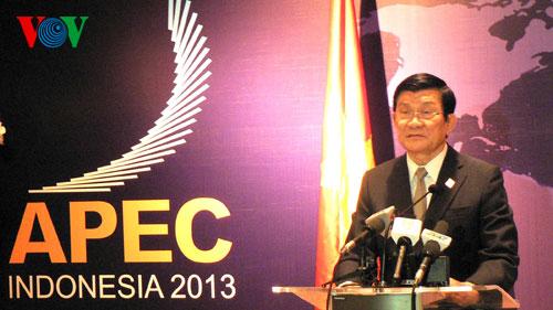 Chủ tịch nước Trương Tấn Sang đọc thông điệp đăng cai APEC 25 vào năm 2017