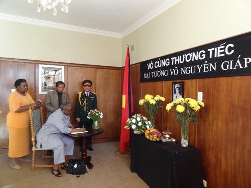 [Caption]Từ ngày 12 đến 14 tháng 10/2013, Đại sứ quán Việt Nam tại Nam Phi đã mở sổ tang và tổ chức lễ viếng Đại tướng Võ Nguyên Giáp tại Trụ sở của Đại sứ quán ở Thủ đô Pretoria.Lễ viếng đã được chính thức bắt đầu từ 08:00 sáng ngày 12/10/2013 với sự tham dự của toàn thể cán bộ, nhân viên Đại sứ quán Việt Nam tại Nam Phi, các cơ quan đại diện Quân Vụ, Thương Vụ, Thông Tấn xã cùng đông đảo bà con Việt Kiều đang sinh sống, công tác và học tập tại Nam Phi.