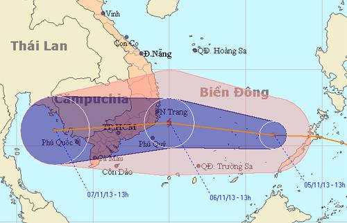 Dự bão đường đi của áp thấp nhiệt đới có khả năng mạnh thành bão số 13 trong năm..nchmf