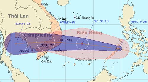 Một áp thấp nhiệt đới đang hình thành trên biển Đông và có khả năng mạnh lên thành bão ảnh hưởng đến khu vực Nam Trung Bộ và Nam Bộ Việt Nam. Ảnh: