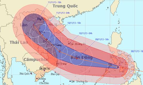 Dự báo đường đi của bão Haiyan lúc 16h. Ảnh:.nchmf