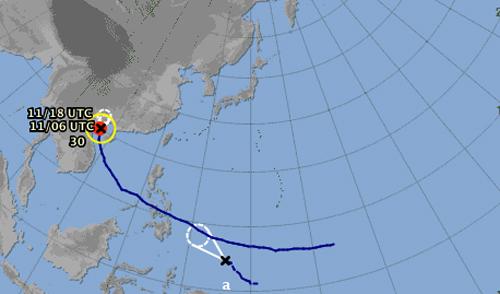 Một vùng áp thấp đang hình thành. Ảnh: .jma.go.jp/