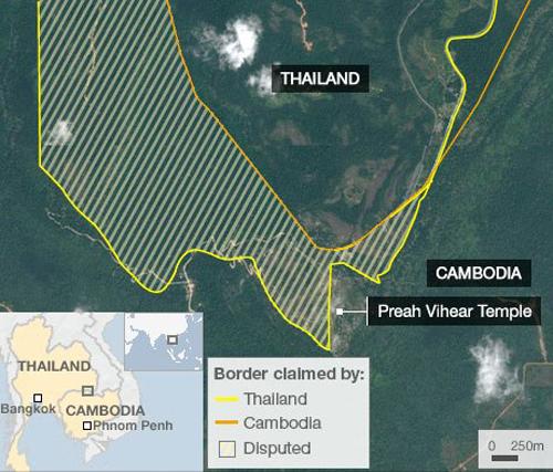Khu vực đền Preah Vihear trên bản đồ, vùng có sọc là nơi tranh chấp biên giới giữa Thái Lan và Campuchia. Ảnh:BBC