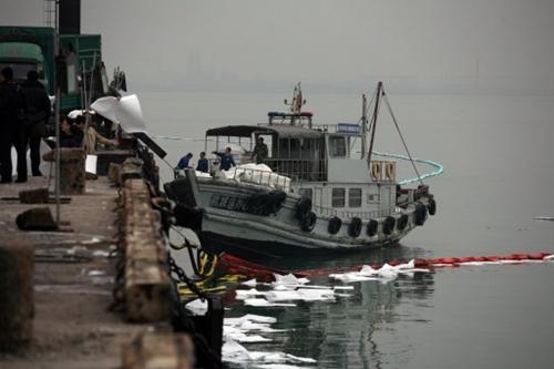 Công nhân xử lý lượng dầu tràn ra vịnh Giao Châu bằng một loại giấy đặc biệt. Ảnh: AFP.
