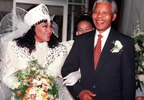 Zinzi Mandela and her father Nelson Mandela on her wedding day in Soweto in 1992. Photo: AFP