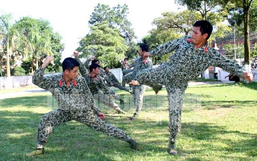 Đá ngang, một đòn đánh thường được các chiến đấu viên sử dụng linh hoạt khi cận chiến tay không
