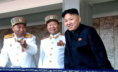 Kim Jong Un, right, with his military advisers Vice Marshal Choe Ryong Hae, center, and Vice Marshal Ri Yong Ho