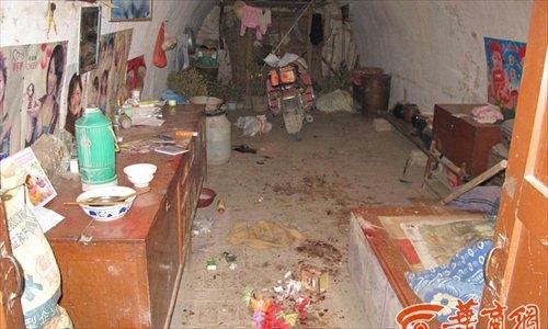 Cảnh tan hoang trong căn nhà do con lợn lòi gây ra. Ảnh: hsw.cn.