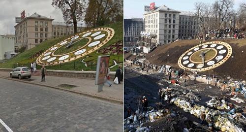 Trong khi nhiều khu vực ở Quảng trường Độc lập trong thủ đô Kiev đã bị đổ nát thì Đồng hồ hoa, được cho là đồng hồ hoa lớn nhất ở châu Âu, vẫn còn nguyên ven.