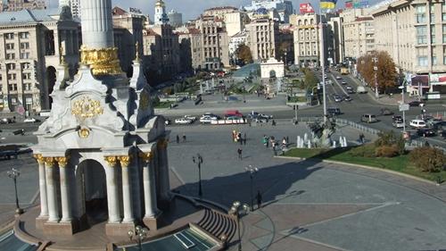 Khu vực từng là điểm tập trung, gặp gỡ của người dân Kiev trở thành bãi chiến trường. Ảnh: Google/Bloomberg.