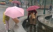 Hai người Nhật đội mưa nhặt rác bên hồ Gươm