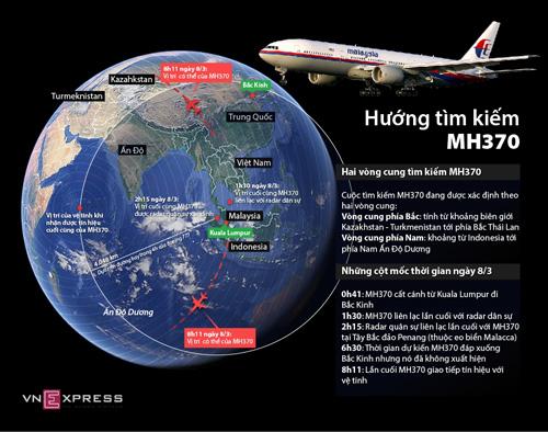 Hai vòng cung tìm kiếm mới đối với chiếc MH370 (Click vào ảnh để xem chi tiết). Đồ họa:Đồng Nguyên Anh