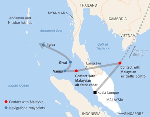 Đường bay giả định của MH370 với các điểm tham chiếu chuyển hướng (màu xanh). Đồ họa: StraitsTimes.