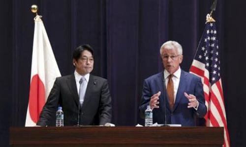 Bộ trưởng Quốc phòng Mỹ Chuck Hagel (phải) phát biểu trong cuộc gặp với người đồng cấp Nhật Bản Itsunori Onodera hôm nay. Ảnh: Reuters.