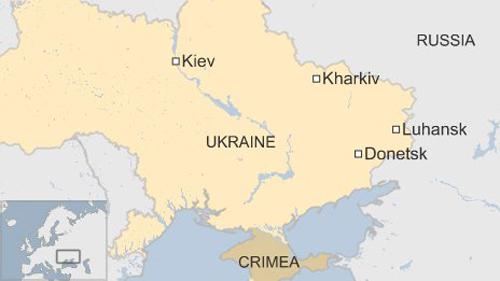 Bản đồ thể hiện vị trí các thành phố Donetsk, Luhansk và Kharkive của Ukraine. Đồ họa: BBC