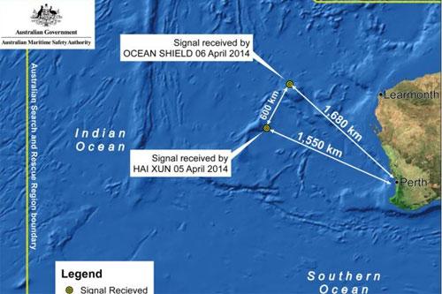 Các địa điểm mà tàu tìm kiếm phát hiện được tín hiệu giống với của các hộp đen máy bay. Đồ họa: AMSA
