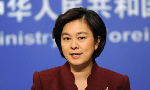 Bà Hoa Xuân Doanh, phát ngôn viên Bộ Ngoại giao Trung Quốc, trong cuộc họp báo hôm 7/5. Ảnh: fmprc