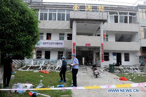 Hiện trường vụ nổ bom ở An Huy. Ảnh: Xinhua.