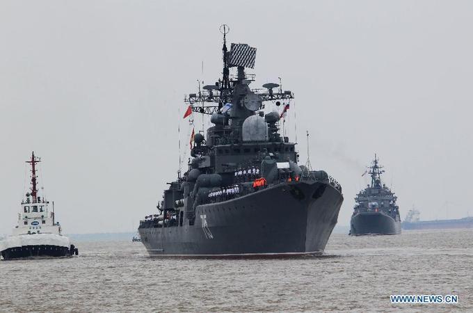 Loạt tàu chiến Nga cập bến Thượng Hải