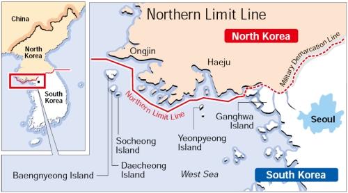 Đường biên giới phía Bắc (NLL) giữa Triều Tiên và Hàn Quốc. Ảnh:Korea Herald