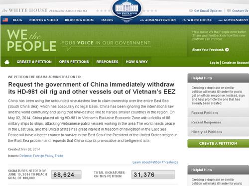 Hơn 130.000 người đã ký vào đơn kiến nghị trên website Nhà Trắng tính đến chiều 29/5. Ảnh chụp màn hình.