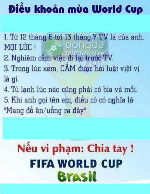 Điều khoản của các ông chồng trong mùa World Cup.