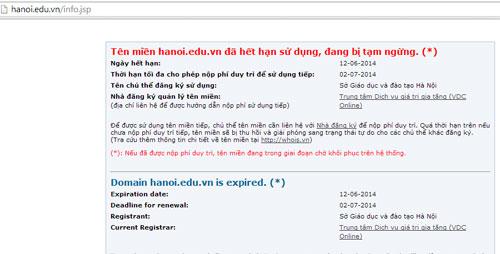 Thông báo việc tạm ngưng hoạt động trên giao diện website của Sở Giáo dục Hà Nội (ảnh chụp màn hình sáng 16/6)