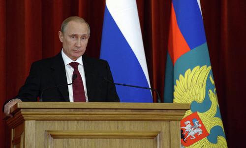 Tổng thống Nga Vladimir Putin trong cuộc gặp với các đại sứ Nga hôm nay. Ảnh: RIA Novosti.