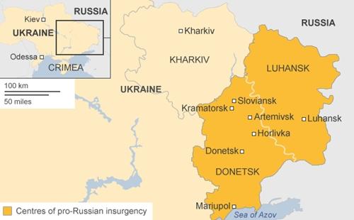 Khu vực xảy ra phong trào ly khai của lực lượng ủng hộ Nga ở miền đông Ukraine. Đồ họa: BBC.
