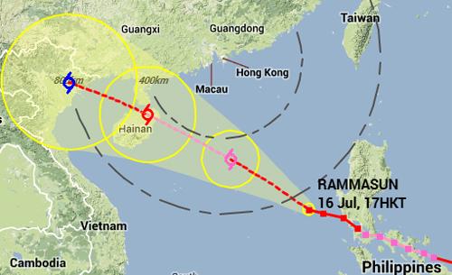 Theo dự báo của Đài HongKong bão Rammasun cũng sẽ đi vào đất liền Việt Nam sau khi vào đảo Hải Nam và qua Vịnh Bắc Bộ. Ảnh:hko.gov.hk.