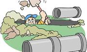 Thơ chế vỡ đường ống nước ở Hà Nội