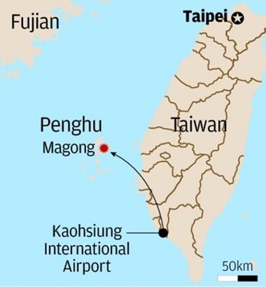 Chuyến bay số hiệu GE222 của Đài Loan cất cánh từ Cao Hùng và gặp nạn ở vùng Bành Hồ. Đồ họa: SCMP.