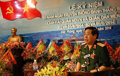 Đồng chí Bộ trưởng Bộ Quốc phòng phát biểu tại Lễ kỷ niệm 50 năm Đánh thắng trận đầu.
