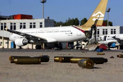 Bullet shells litter the ground at Tripoli International Airport after fierce fighting in August (Picture: AFP/Getty)