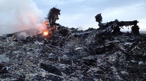 Hiện trường máy bay Malaysia Airlines rơi ở đông Ukraine. Ảnh: AP