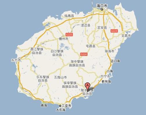 Vị trí huyện Lăng Thủy, đảo Hải Nam, Trung Quốc. Đồ họa:163.com