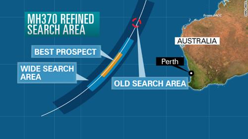 Khu vực khả năng cao MH370 rơi xuống (màu vàng), khu vực mở rộng (màu xanh nhạt) trong đợt tìm kiếm mới. Đồ họa: CNN/JACC.