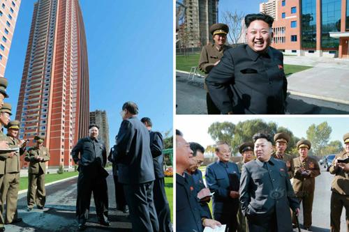 Hình ảnh ông Kim Jong-un đi thăm khu chung cư cho giảng viên Dại học Công nghệ Kim Chaek được đăng tải trên truyền thông Triều Tiên. Ảnh: CFP/Sina.