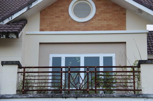 Bên trong những căn nhà này cỏ mọc lên đến tầng 1 um tùm bên trong.