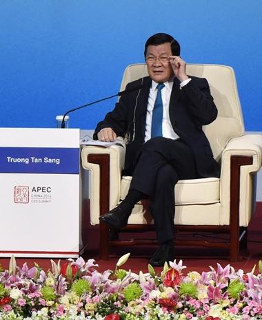 Chủ tịch nước Trương Tấn Sang tại một Hội nghị trong khuôn khổ Diễn đàn APEC. (Ảnh: Nguyễn Khang/TTXVN)