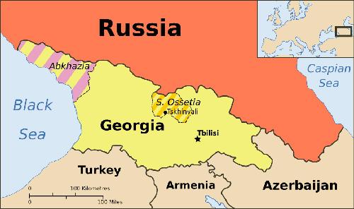 Bản đồ cho thấy vị trí của Nga, Georgia và hai tỉnh ly khai Abkhazia và South Ossetia. Đồ họa: